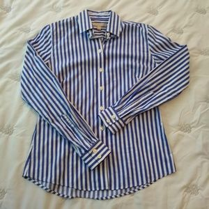 Banana Republic Blue/White No Iron Fitted Shirt S